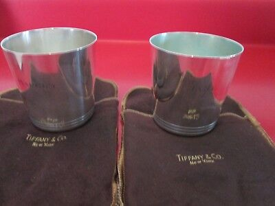 Two Vintage - TIFFANY & Co  - STERLING -  CUPS w/ ORIG CLOTH BAGS  - 9.6 toz