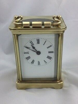 Antique 8 Day Gorge Shape Carriage Clock with White Enamelled dial