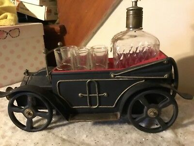 Vintage Bar Car Music Box Scotch Decanter Set Plays How Dry I Am made in Japan