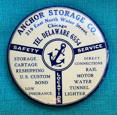 ANCHOR STORAGE Co. Pocket Mirror - Parisian Novelty - Chicago - ca. 1920s