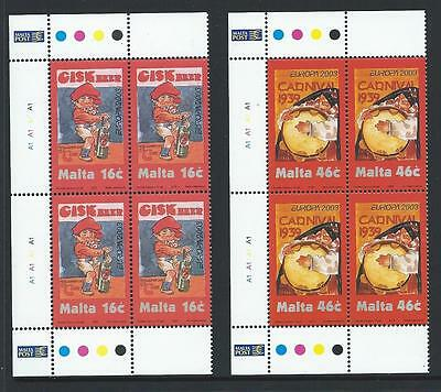2003 MALTA Europa - Poster Art Set in Blocks of 4 MNH (Scott 1123-1124)
