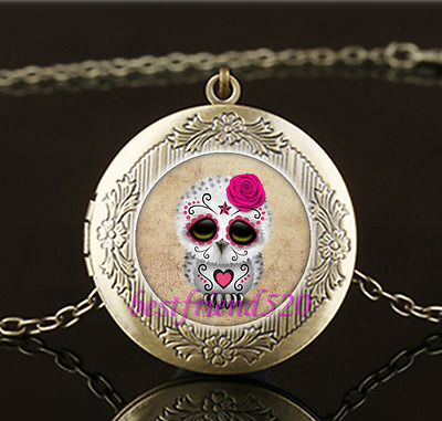 OWL bronze LOCKET OPENS GOTH SUGARSKULL FLOWERS DEATH glass necklace pendant NEW