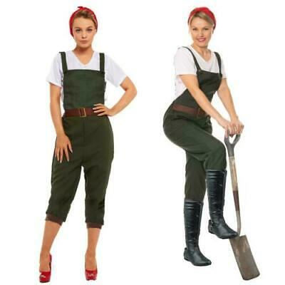 WW2 1940s Land Girl Womens Army World War 2 Fancy Dress Costume Size UK 8 - 22