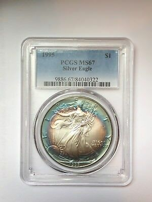 Lovely Toned 1995 American Silver Eagle $1 Dollar Coin PCGS  MS67