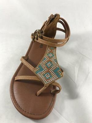 b000591966e1 Girl s Youth MUDD DEVON Brown Strappy Buckle Gem Flat Sandals Dress Shoes  NEW