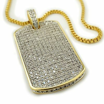 d96319cae027c 18K GOLD PLATED Out Iced CZ Dog Tag Stainless Steel Box Chain ...