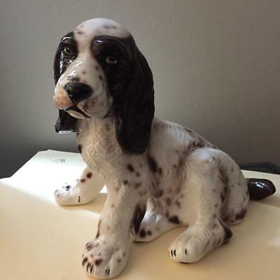 Gorgeous Large Vintage Italy Ceramic Spaniel Puppy Dog Signed Life Like EPOC NR