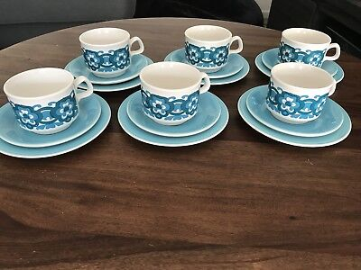 Set 6 Retro Staffordshire Potteries Ironstone Teacup Trios Blue White Flowers