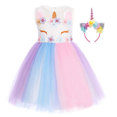 6f92e411d Girls Unicorn Birthday Dress Pastel Tulle Tutu Skirt Party Gown Outfit with  Horn