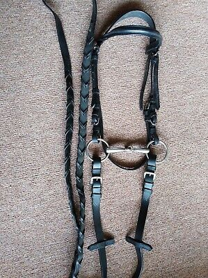 pony leather bridle with 4in but and noseband.