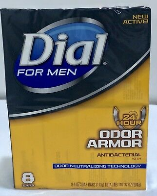 Dial for Men Odor Armor Antibacterial Odor Protection Soap, 8 Bars, 4 oz Each