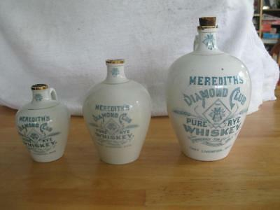 Meredith's Diamond Club Pure Rye Whiskey Lot of 3 Jugs Quart Pint Half Pint