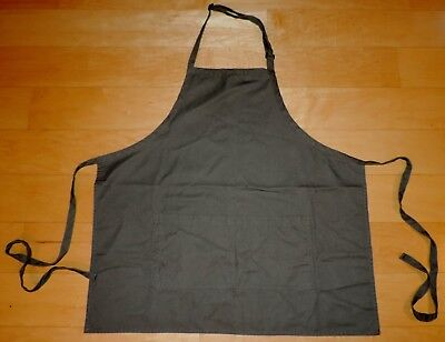 CINTAS Dark Grey Apron Two Large Wide Front Pockets with Side Ties Gray