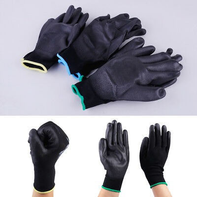 12 Pairs PU Nylon Safety Coating Gloves for Builders Grip Palm Protect S M L