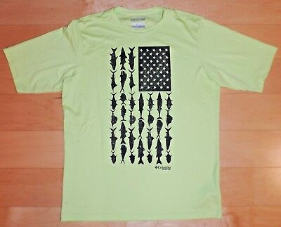 d1d72b9f474 COLUMBIA PFG Patriotic Flag O Fish Short Sleeve T-Shirt Sun Protection Size  MED
