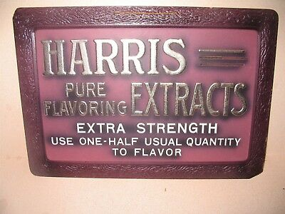Harris Extracts Pure Flavoring EARLY Wolf Co. Pressed Embossed Cardboard Sign