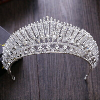 7cm High Clear Crystal Large Wedding Bridal Party Pageant Prom Tiara Crown