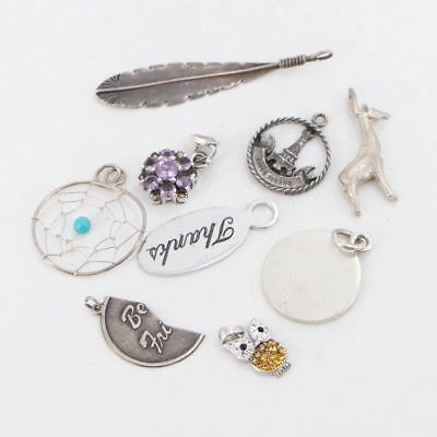 VTG Sterling Silver - Lot of 9 Assorted Charm Pendant NOT SCRAP - 27g