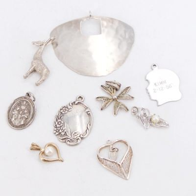 VTG Sterling Silver - Lot of 9 Assorted Charm Pendant NOT SCRAP - 25.5g