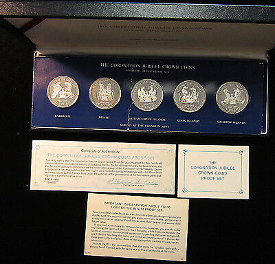 1978 Franklin Mint Coronation Jubilee Crown Coins Sterling Silver! 5 Countries!