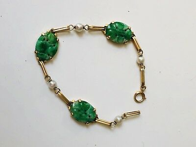 Antique Chinese Carved Deep Green Jade 14K Gold And Pearl Bracelet