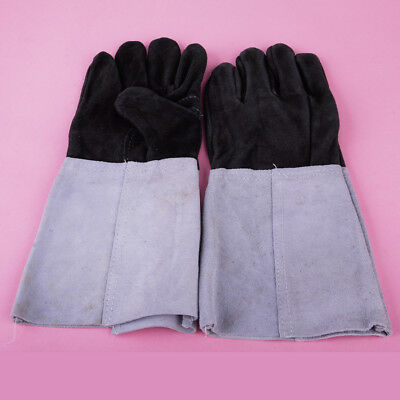 1 Pair Welding Gauntlets Protective Gloves Heat Resistant Leather Cowhide