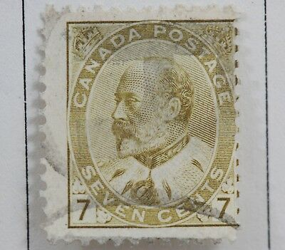 Canadian Stamp Scott #92 F Used HH 7 Cent Olive 1903 King Edward VII