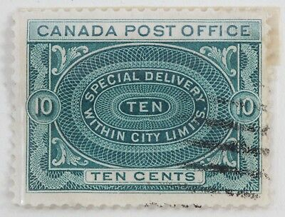 Canadian Stamp Scott #E1 F Used HH 10 Cent Green 1898 Special Delivery