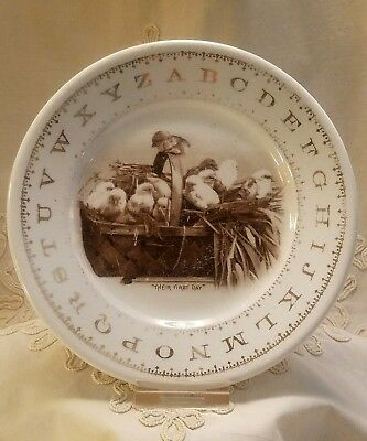 "Antique Children's' Alphabet Plate -Hotel China -""THEIR FIRST DAY"" Baby Chicks"