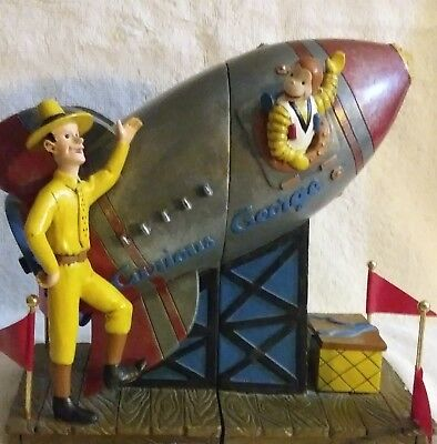 Curious George Bookends Rocket Ship by Vandor 1997 Used