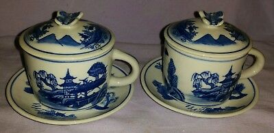 2 Antique Chinese Export Canton Covered Teacups & Saucers With Butterfly Lids