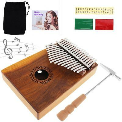 17 Key Kalimba Single Board Solid Acacia Wood Thumb Piano + Complete Accessories