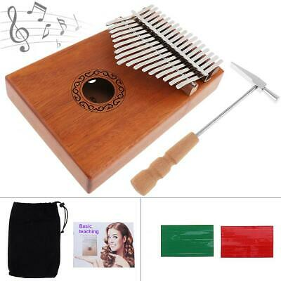 17 Key Kalimba Single Board Mahogany Thumb Piano Mbira with Complete Accessories