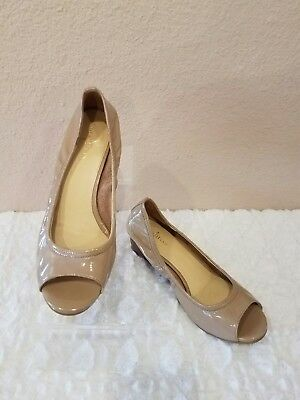 COLE HAAN NIKEAIR Nude Patent Leather Open Toe Wedge Sandal Size 7B EUC
