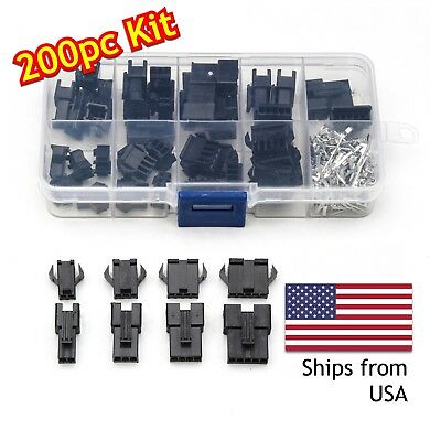 200pcs 2/3/4/5 Pin 2.54mm JST Male/Female Jumper Header Housing Wire Connector