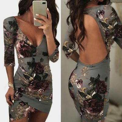 Sexy Women Summer Slim Bodycon Deep V-neck Backless Evening Party Cocktail Dress