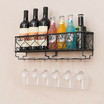 Iron Wall Mounted Wine Rack Champagne Bottle Glass Holder Stemware Hanging Shelf