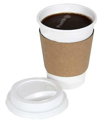 CucinaPrime 100 Pack Paper Coffee Hot Cups WHITE with Travel Lids and Sleeves -