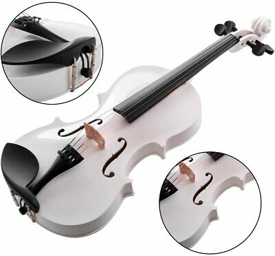 New 4/4 Full Size White Color Acoustic Violin Fiddle + Case + Bow + Rosin