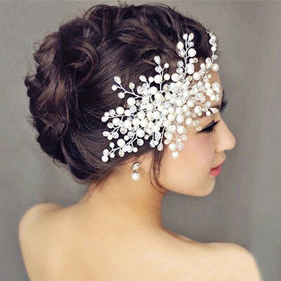 New Charm Bride Crystal Pearl Rhinestone Headpiece Bridal Wedding Hair Comb