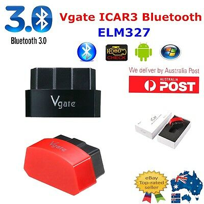 Black AU Vgate iCar3 Bluetooth ELM327 OBD2 II Car Diagnostic Scan Tool Android