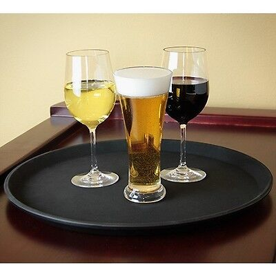 "2 x 14"" ROUND BLACK NON SLIP SERVING DRINK WAITERS TRAY"