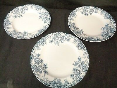 "KEELING LATE MAYERS LOSOL WARE TOKIO c1912 -3 DEEP RIMMED PLATES 9 1/2""  (ss)"