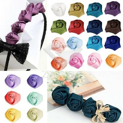 10pcs Satin Ribbon Flower Rosebuds Wedding Appliques Decoratoin DIY Lots SFRN33
