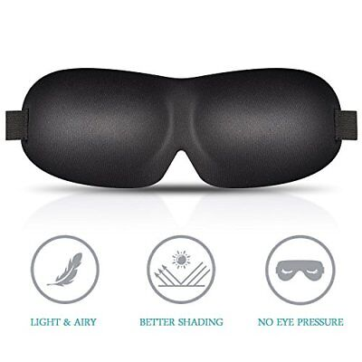3D Sleep Mask for Men Women with Adjustable Strap for Sleeping, Travel,Nap Black