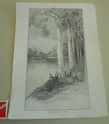 """Antique etching """"The Goulburn River"""" paddle boat, gum tree camp A H Fullwood"""