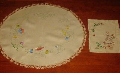 2 Vintage Doilies ~ Embroidery To Be Completed ~ Linen