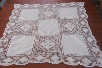 Vintage Embroidered/lace Supper Cloth ~ White ~ Square