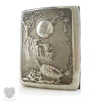 Antique Chinese export solid silver cigarette case tortoise mountains bat signed