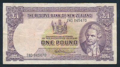 "New Zealand: 1960 LAST ISSUE £1 Fleming ""WITH SECURITY THREAD"". Fine Cat $30"